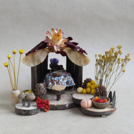 Naturemake Little Autumn Hut model made from natural foraged materials